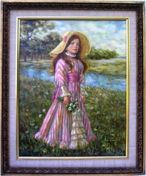 Sarah, the Victorian Girl Lee Dubin Framed Original Oil Painting