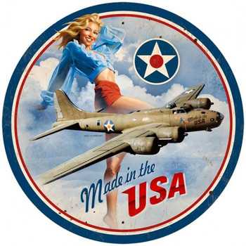 """Made in USA Pin-Up Metal Sign (14"""" round)"""