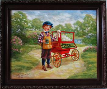 "Lee Dubin Framed Original Painting ""Fresh Pop-Corn Peddler"""