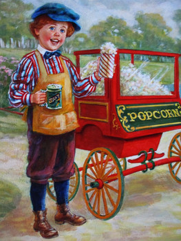 "Lee Dubin Framed Original Painting ""Fresh Pop-Corn Peddler"""