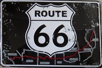Route 66-Embossed Aluminum Sign