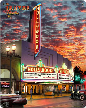 Hollywood Theatre Metal Sign