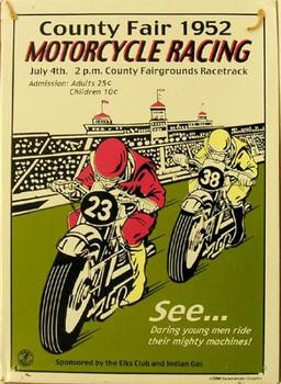 Motorcycle Racing Rustic Metal Sign