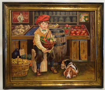 "Lee Dubin Framed Original Painting ""Grocery Shoppin"""