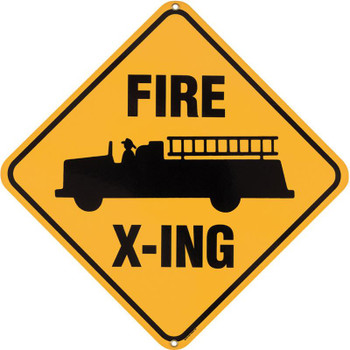 Fire Truck Crossing Porcelain Sign