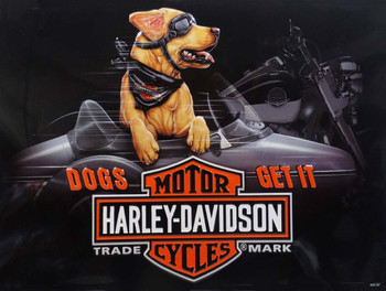 Dogs Get It Sidecar Buddy Harley-Davidson Metal Sign
