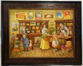 "Lee Dubin Framed Original Oil Painting ""Grocery Store"""