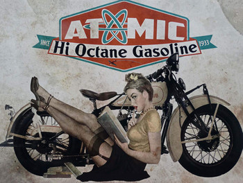 Atomic Hi Octane Gasoline Metal Sign