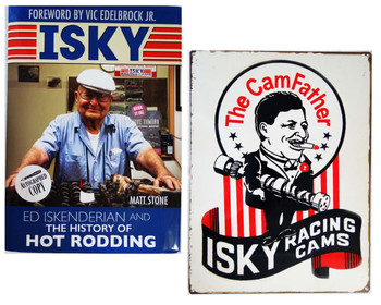 """Ed Iskenderian """"Isky"""" History of Hot Rodding Autographed Book with Camfather Metal Sign"""