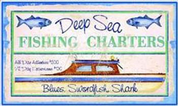 Fishing Charters Boat Pub Sign (Set of 6)