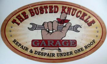 Busted Knuckle Garage (oval) Metal Sign
