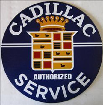 """Cadillac Service ( 12"""" Round ) Metal Sign"""