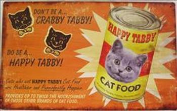 Happy Tabby Cat Food Metal Sign