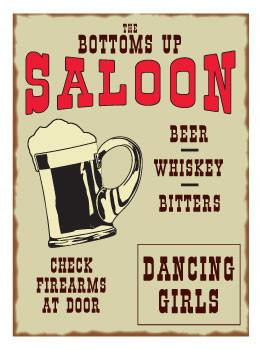 Bottoms Up Saloon Metal Sign