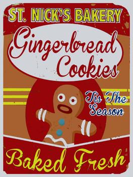 St. Nick's Bakery Gingerbread Cookies Metal Sign