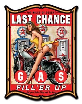 Last Chance Gas Plasma Pin-Up Metal Sign
