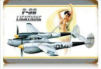 P-38 Lightning Nude Pin-Up Vintage Metal Sign