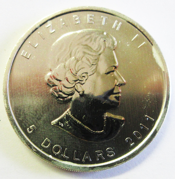 $5.00 Canadian Maple Leaf Silver Ounce Coin 2011 Uncirculated