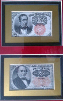 Circulated 10 & 25 Cents Framed Fractional Currency 1884