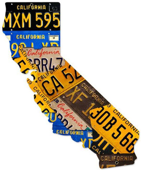 California License Plates Plasma Cut Metal Sign