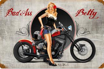 Bad Ass Betty Pin-Up Metal Sign
