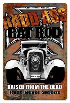 Bad Ass Rat Road Vintage Metal Sign