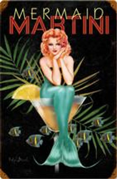 Mermaid Martini Pin-Up Sign