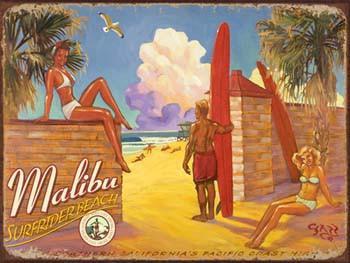 Malibu Surfrider Beach Metal Sign