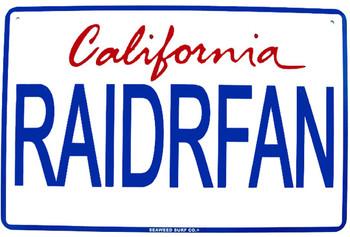 Raider Fan CA License Plate RAIDRFAN Aluminum Sign