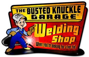 Busted Knuckle Welding Shop Plasma Cut Metal Sign