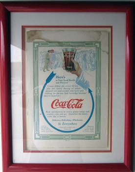Coca Cola Framed Advertisement 5 Cent