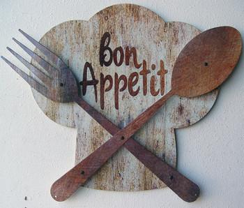 Bon Appetit Chef Hat 3D Metal Sign