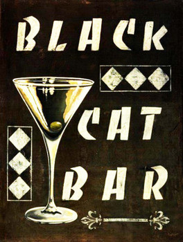 Black Cat Bar Metal Sign