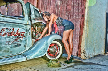 Girl Fixing Up Truck Metal Sign