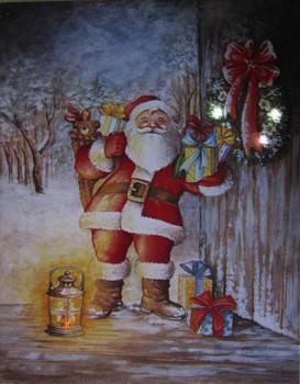 Santa Bringing Gifts LED Canvas