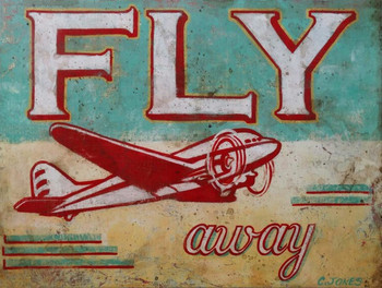 Fly Away Airplane Metal Sign