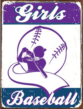 Girls Baseball Metal Sign