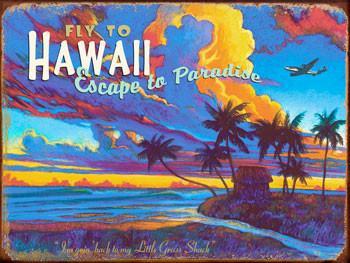 Hawaii-Fly To Metal Sign