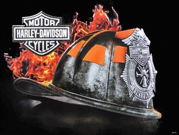 Fire Helmet Harley-Davidson Metal Sign