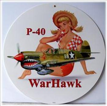 "P-40 WarHawk 14"" Round Metal Sign"