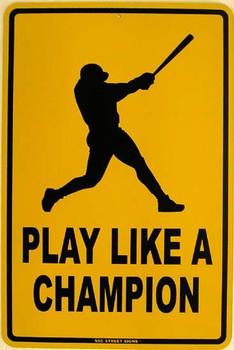 Play Like A Champion Metal Sign