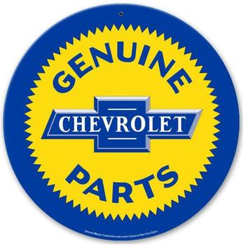"""Chevrolet Genuine Parts 14"""" Round Metal Sign"""