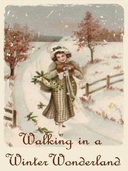 Walking in a Winter Wonderland Christmas Girl Metal Sign