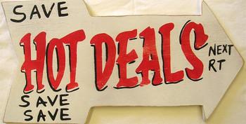 Save Hot Deals Next Right Arrow Wood Sign