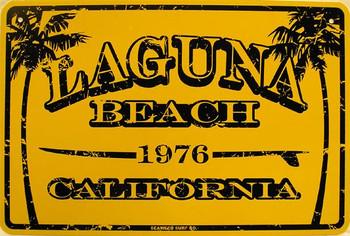 Laguna Beach Metal Sign Yellow