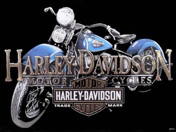 Old Blue Harley-Davidson Motorcycle Metal Sign