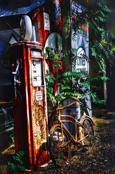 Rusty Gas Pumps/Bicycle Metal Sign