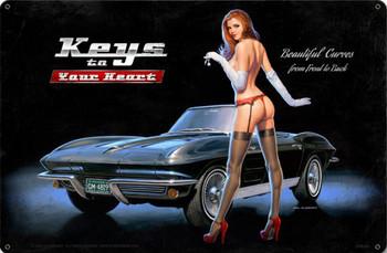 Corvette Stingray Pin-Up Metal Sign