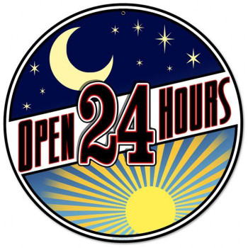 """Open 24 Hours 14"""" Round Metal Signs"""