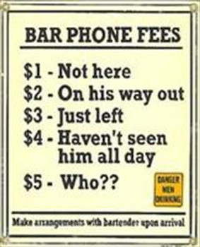 Bar Phone Fees Porcelain Sign